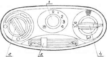 Приборы управления вентиляцией и обогревом салона