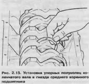 Установка упорных колец коленчатого вала в гнезда среднего коренного подшипника