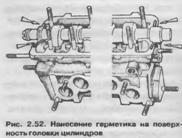 Нанесение герметика на поверхность головки цилиндров