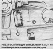 Метки для определения ВМТ поршней первого и четвертого цилиндров