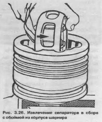 Извлечение сепаратора в сборе с обоймой из корпуса шарнира