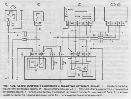 Схема включения очистителей ветрового стекла и омывателя