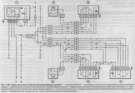 Схема включения электростеклоподъемников дверей