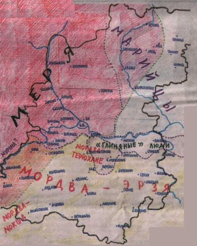 Карта заселения народами  Нижегородского края в 5 - 8 веках н.э.