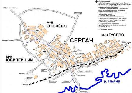Карта города Сергача