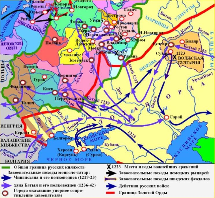 Маршруты набегов монголо-татар на Русь