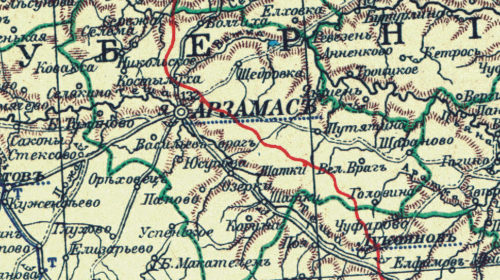 Козлиха на карте Арзамасского уезда