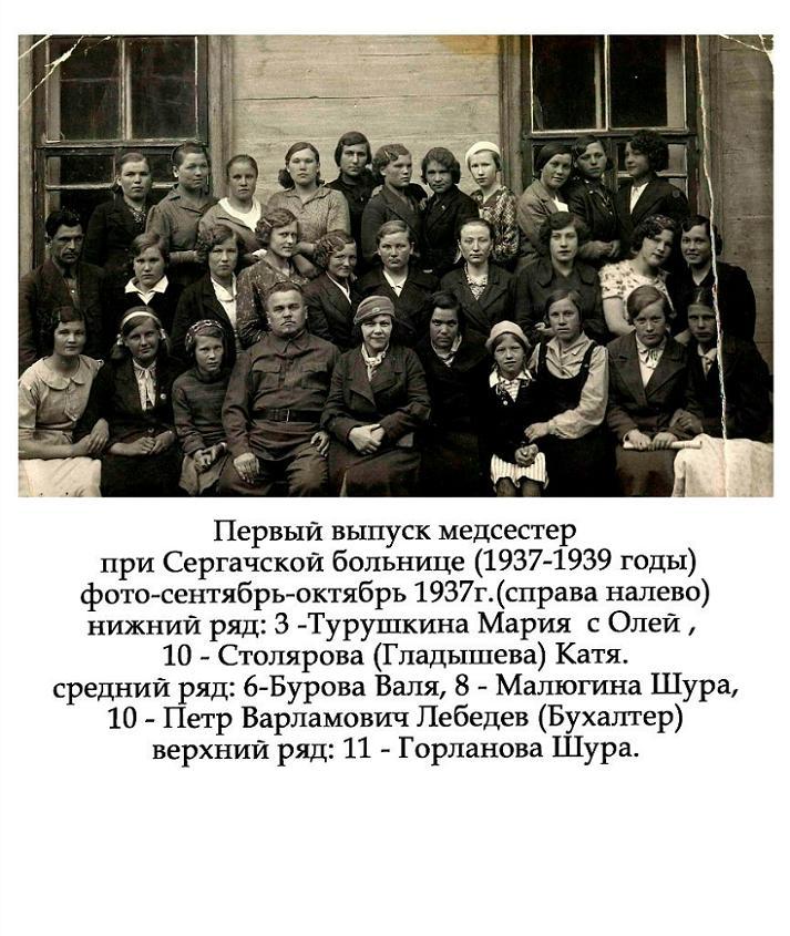 Администрация и учащиеся  первых курсов медсестер при Сергачской больнице